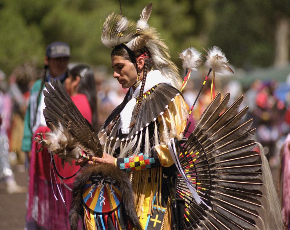 A dancer in tribal regalia.