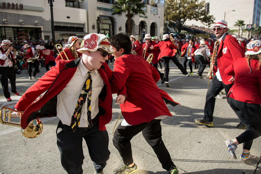 Members of the Band dancing in the street