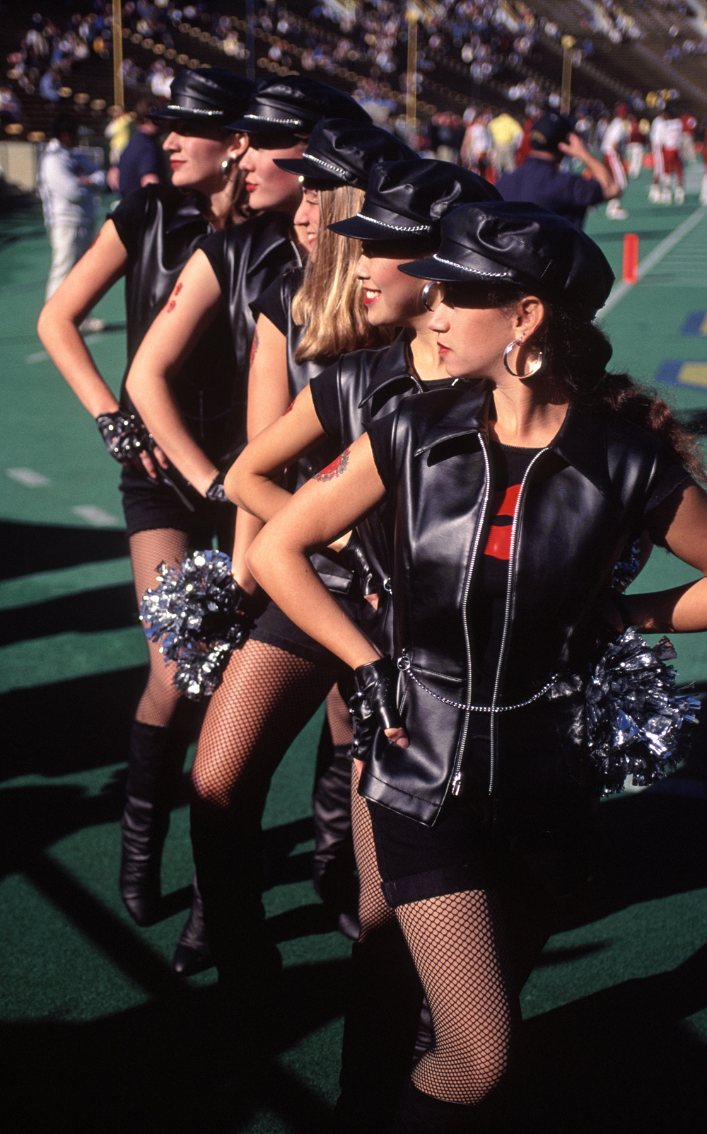 Dollies dressed in black leather