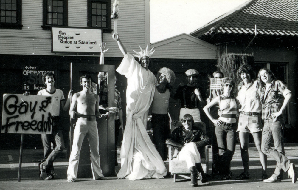 A group of people outside the Gay People's Union at Stanford in 1974.