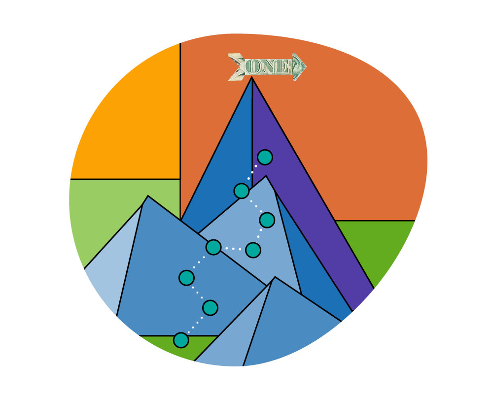 A colorful Illustration of a path up a tall mountain with a dollar bill arrow at the top.