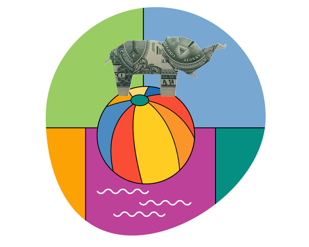 A colorful illustration of a dollar bill elephant balancing on top of a ball.