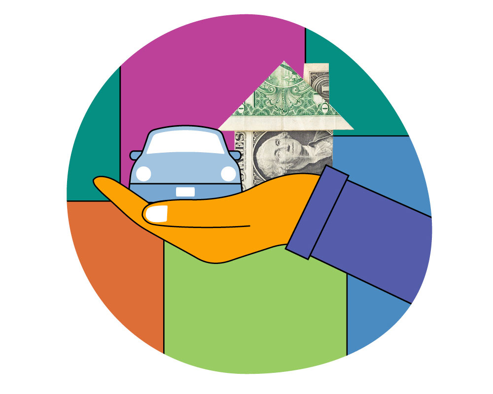 A colorful illustration of a hand holding a car and a dollar bill house.