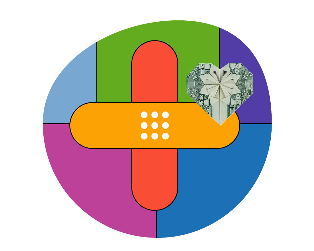 A colorful illustration of a bandaid in the shape of a medical symbol and a dollar bill heart next to it.