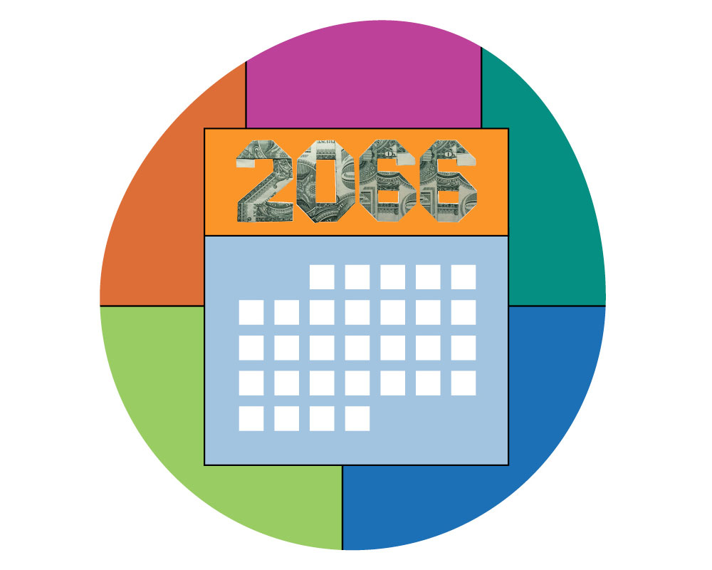 A colorful illustration of a calendar in 2066.