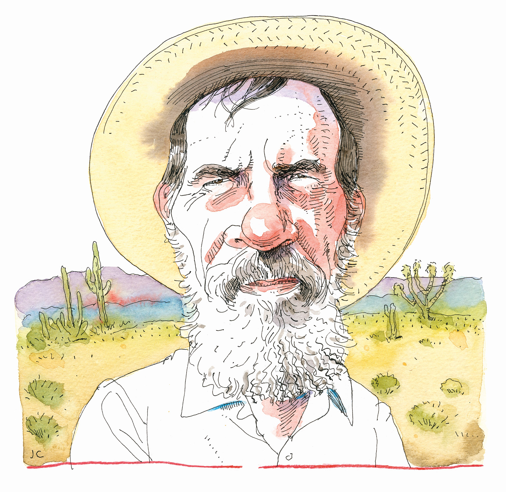 Illustration of Edward Abbey with dessert in the background.