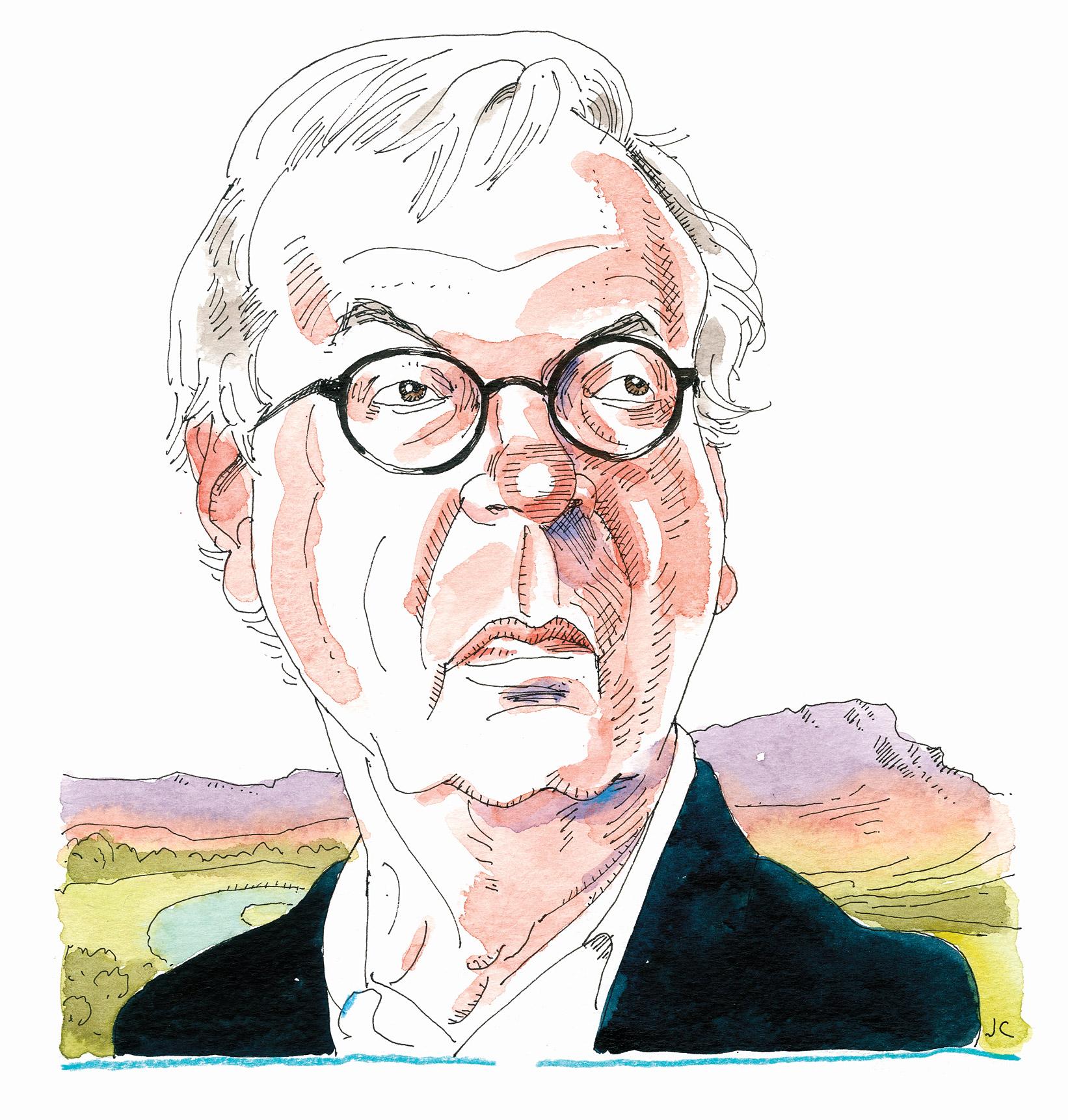 Illustration of Larry McMurtry.