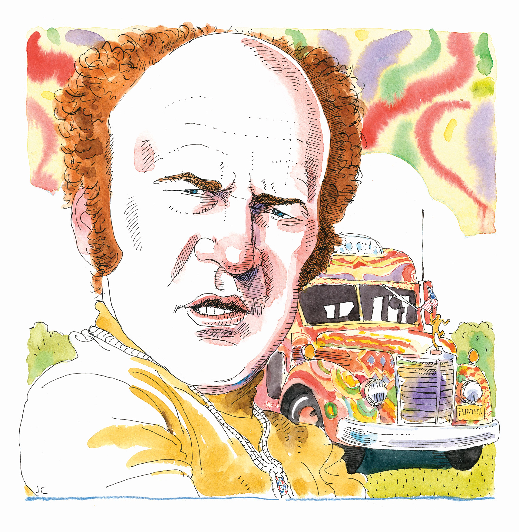Illustration of Ken Kesey with colorful bus in the background.