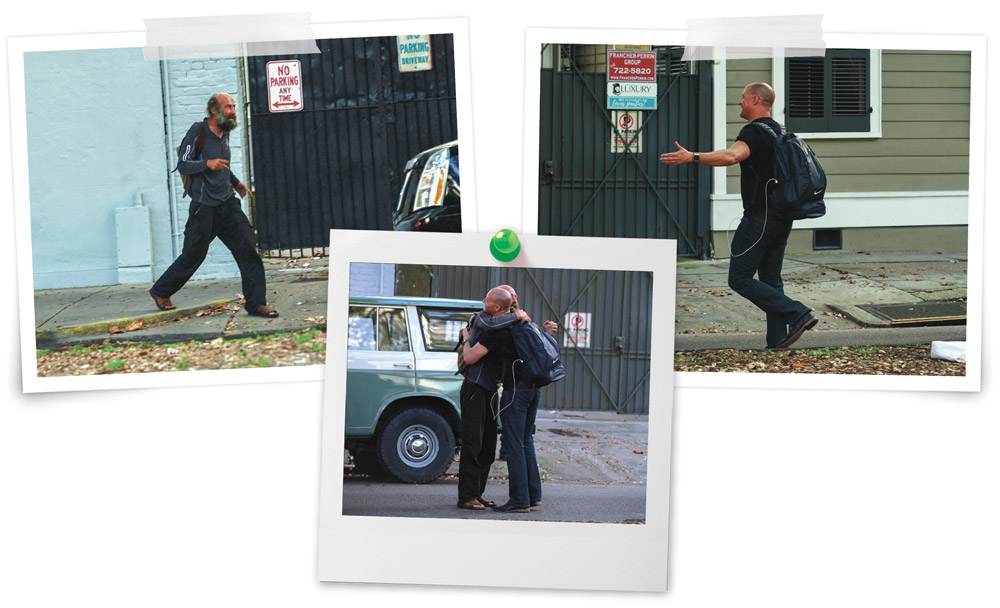 A series of three snapshots showing Bennet and Coyle approaching each other on the street, then hugging.