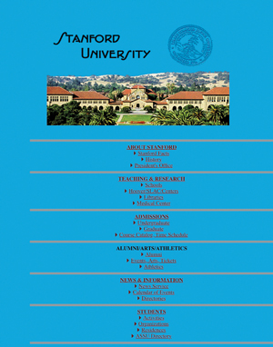 Image of the original Stanford home page, with bright blue background.