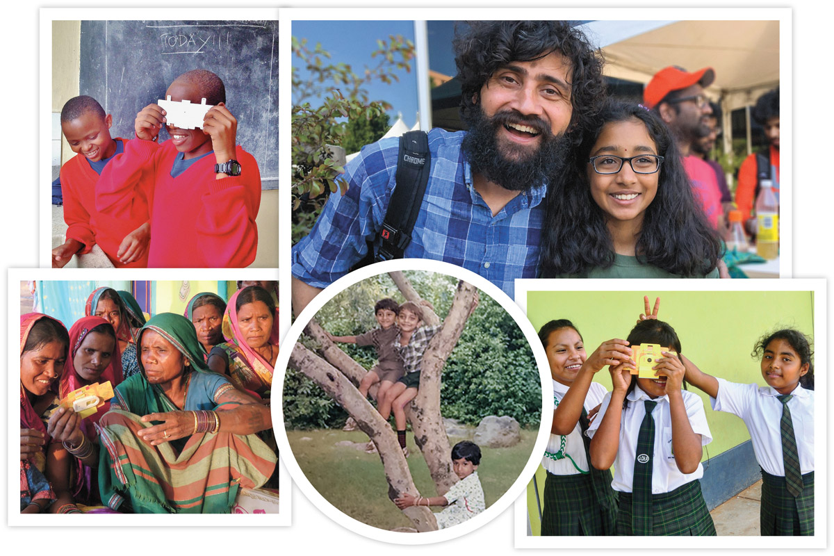 EXPLORATIONS: Prakash  fell in love with the tiny miracles of nature on childhood walks with his cousins (far left). Through the Foldscope, he has enabled 1.5 million people around the globe to make their own discoveries.