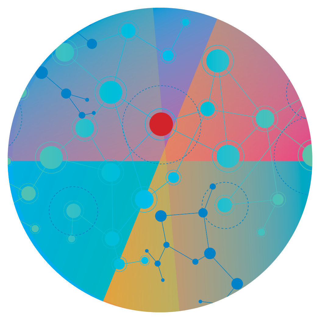 colorful illustration of dots and lines connecting within a circle