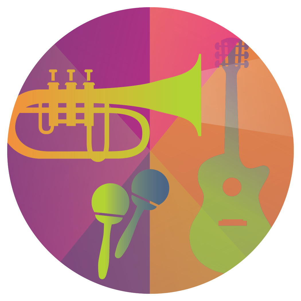 colorful illustration of musical instruments contained within a circle