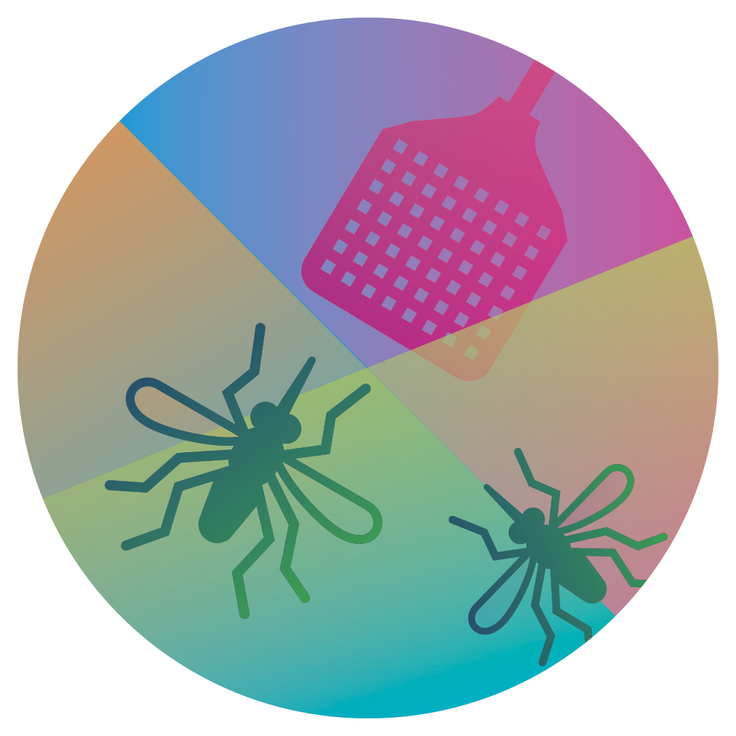 colorful illustration of bugs and a flyswatter to 'debug' contained in a circle.