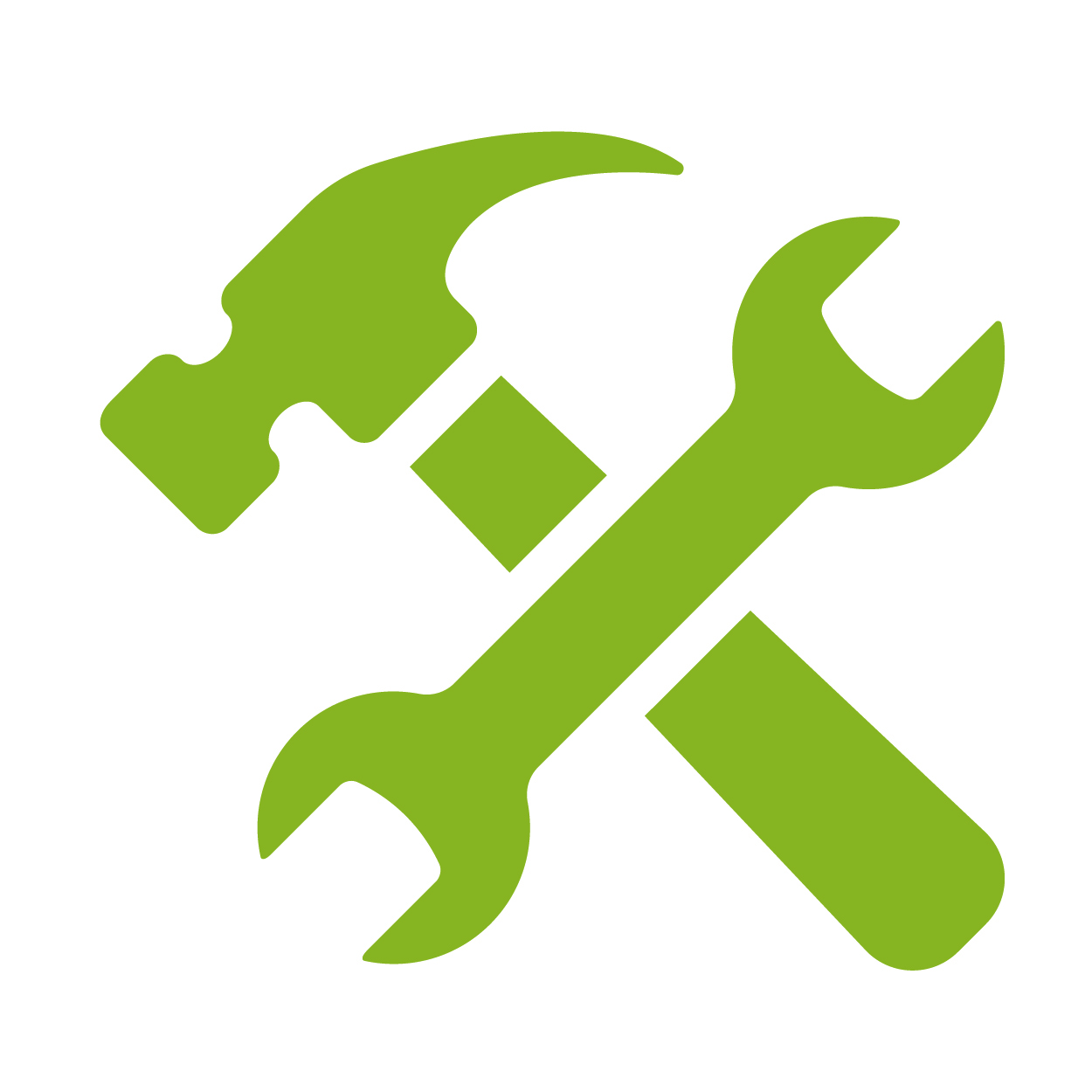 simple vector illustration of a hammer and a wrench