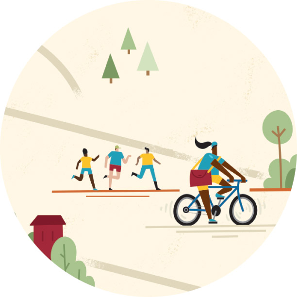 Illustration of a person riding a bike
