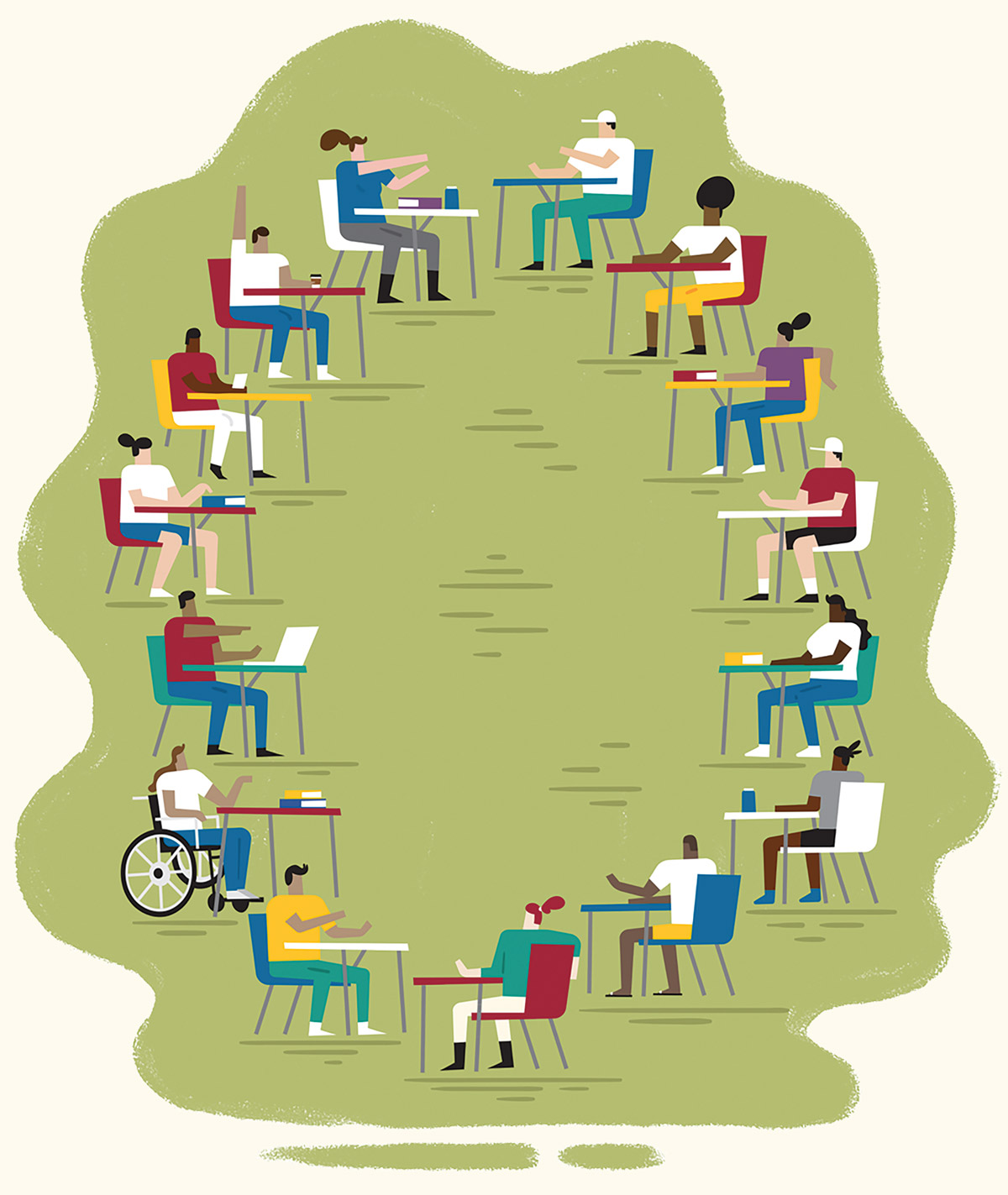 Illustration of students on Stanford campus