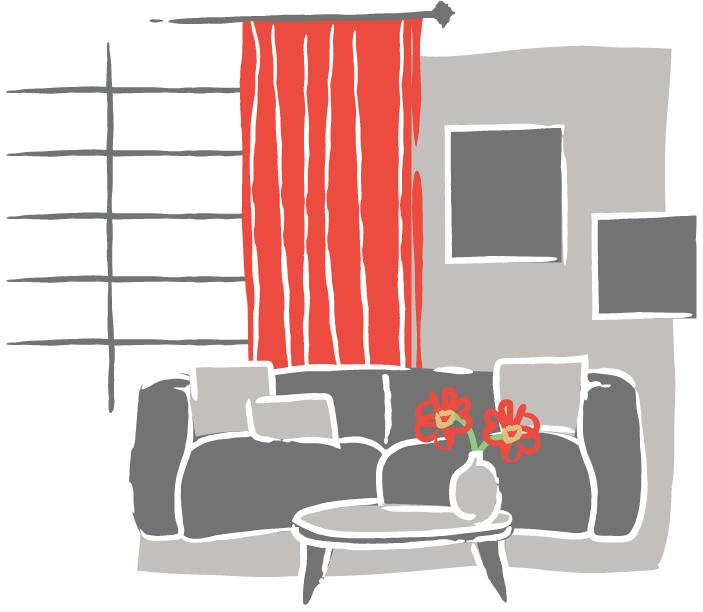 Illustration of living room.
