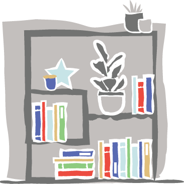 Illustration of book shelves with books and display items.