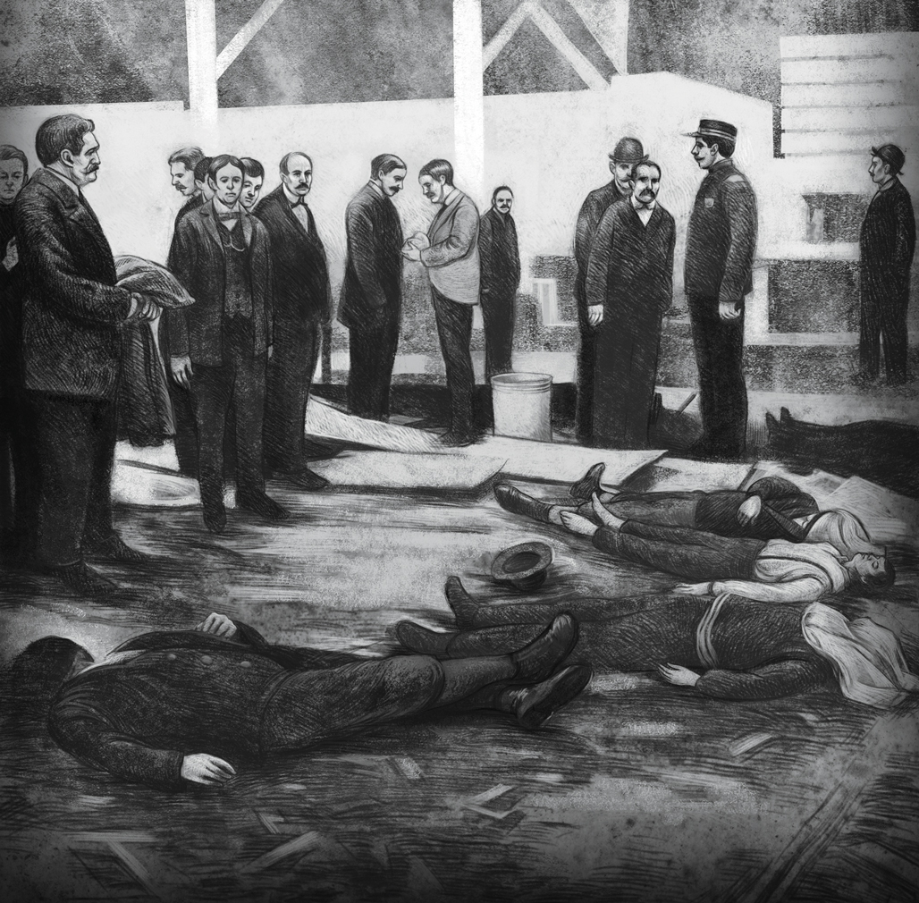 A grainy illustration showing men in suits looking over the bodies leftover from the crash. A security guard watches over them.