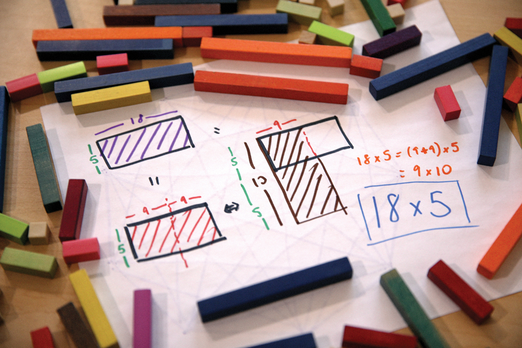 Colorful math manipulatives on a table.
