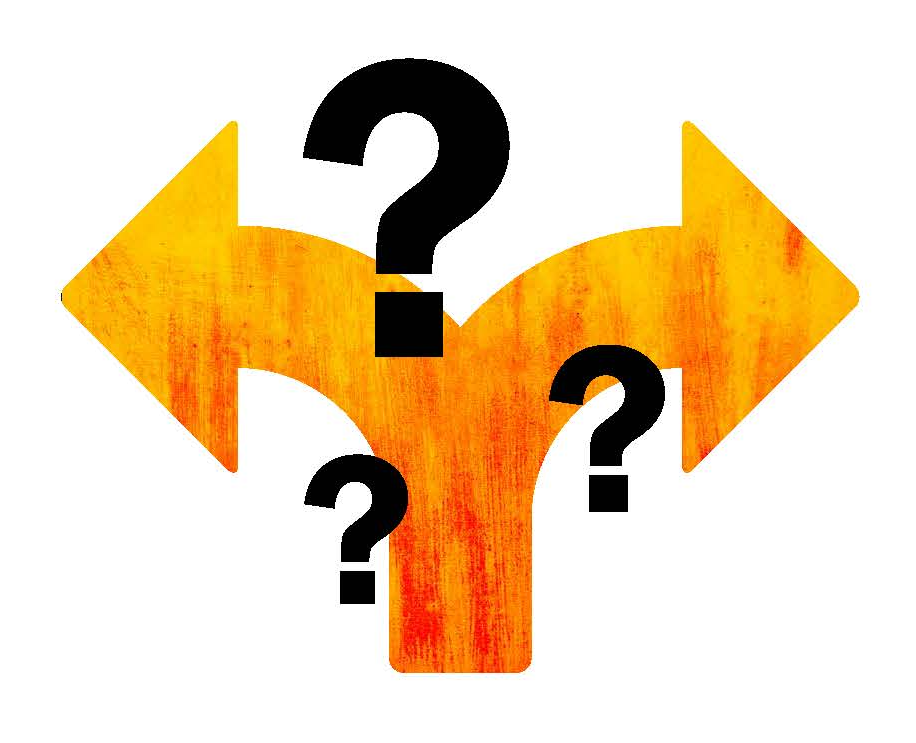 Illustration of arrows and question marks.