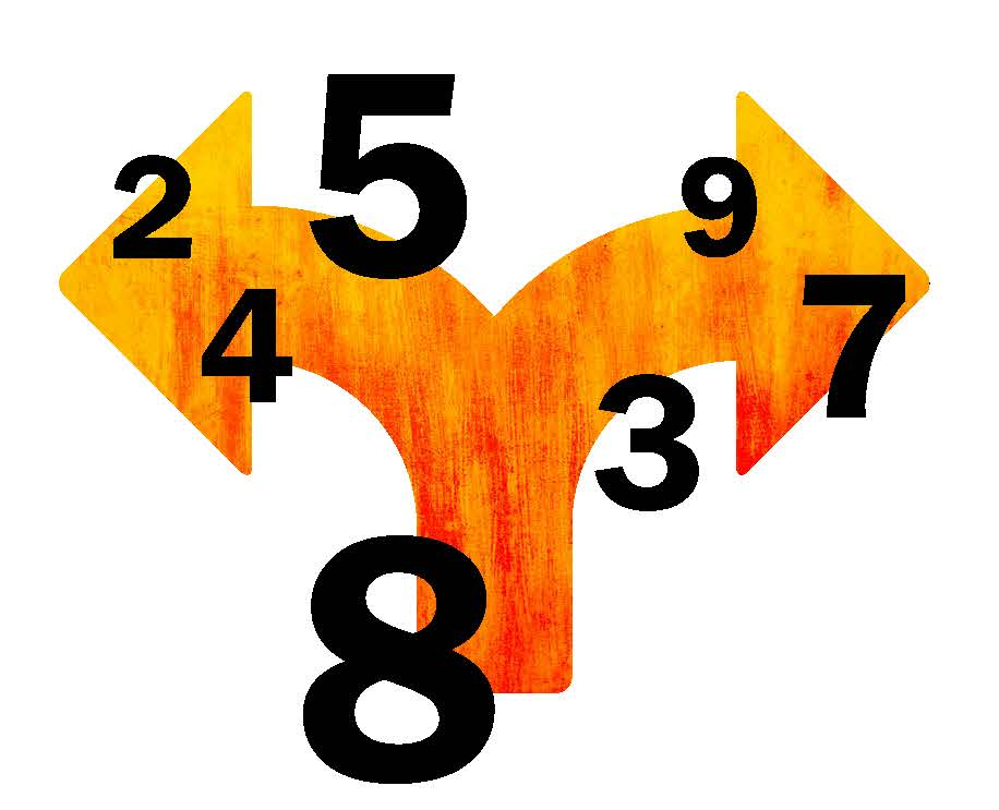 Illustration of arrows and numbers.