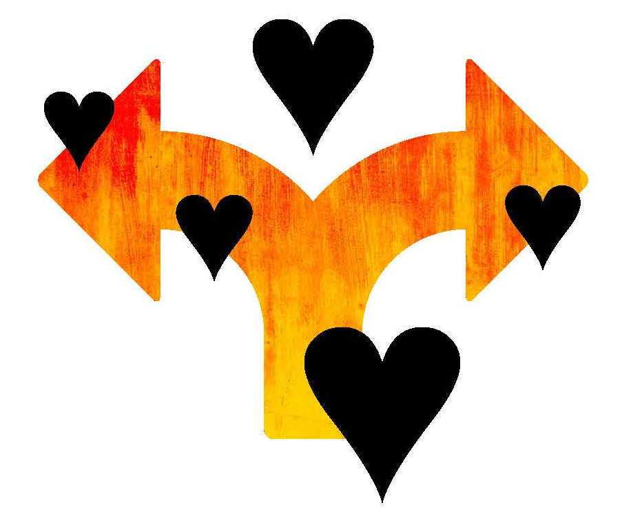 Illustration of arrows and hearts.